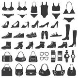 Satz vektorschattenbilder: Schuhe, Badebekleidung und ACC Lizenzfreie Stockfotografie