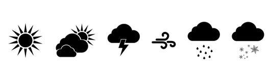 Satz Vektorschwarzes Wetterikonen Verwittert Ikonen Wetter-Vektor-Ikonen Wettervorhersage-Zeichensymbole Wetterzeichen stock abbildung
