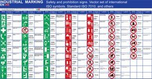 Satz Vektorsicherheitszeichen-Verbotszeichengebäudeanwendungen VEKTORsicherheitssymbole ISO 7010 Standard Vektorgraphik safet vektor abbildung