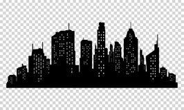 Satz Vektorstadtschattenbild und -elemente für Design Stockfotografie