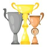 Satz Vektortrophäen-Meistercups im Gold, im Silber und in der Bronze Meisterschaftspreise für zuerst, zweiter und dritter Platz vektor abbildung
