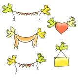 Satz Vektorvögel, die Girlanden, Band, Herz und Plakat tragen Stock Abbildung