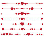 Satz Vektorvalentinsgrußmonogramme mit Herzen Lizenzfreies Stockbild