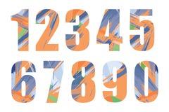 Satz Vektorzahlen, von 1 bis 0 Stockfotografie