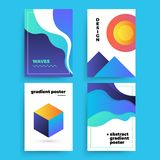 Satz Vektorzusammenfassungsposter mit geometrischen Steigungsformen und Retro- Farben Heller 80 ` s Poster Stockbild
