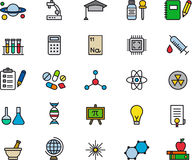 Satz in Verbindung stehende Ikonen der Wissenschaft Lizenzfreies Stockfoto