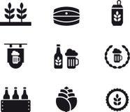 Satz in Verbindung stehende Ikonen des Bieres Stockfotografie