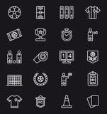 Satz in Verbindung stehende Ikonen des Fußballs Stockbild