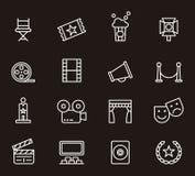Satz in Verbindung stehende Ikonen des Kinos Lizenzfreie Stockbilder