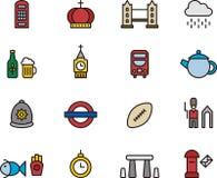 Satz Vereinigten Königreichs Ikonen Stockbilder