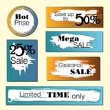 Satz Verkauf, Rabattaufkleber und Fahnen Heißer Preis, nur begrenzte Zeit, Mega- Stockfotos