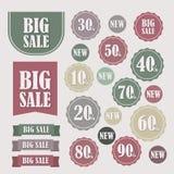 Satz Verkaufsaufkleber und -fahnen Lizenzfreie Stockbilder