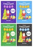 Satz Verkaufsfeiertagswebsite-Fahnenschablonen Weihnachts- und des neuen Jahresillustrationen für Social Media-Fahnen, -Poster, - stock abbildung