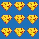 Satz Verkaufsprozent-Fahnenschablonen Stockbild