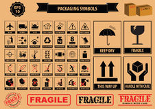 Satz Verpackungs-Symbole Stockfoto