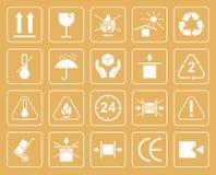 Satz Verpackungs-Symbole einschließlich zerbrechliches, sich vor schützen Lizenzfreie Abbildung