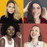 Satz Verschiedenartigkeits-Frauen-Gesichts-Ausdruck-Lebensstil-Studio-Collage Lizenzfreie Stockfotos