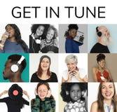 Satz Verschiedenartigkeits-Leute erhalten in der Melodie-Musik-Collage Stockbild