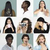 Satz Verschiedenartigkeits-Leute-Gesichts-Ausdruck-Lebensstil-Studio-Collage Lizenzfreie Stockfotografie