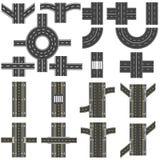 Satz verschiedene Abschnitte der Straße mit Karussells, Kreuzungen, Biegungen und verschiedenen Schnitten Reihe stellt dar Stockfotografie