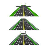 Satz verschiedene Abschnitte der Straße mit Schnitten, Radwegen, Bürgersteigen und Schnitten Perspektivenbild Stockfotografie