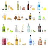 Satz verschiedene Alkoholgetränkflaschen stock abbildung