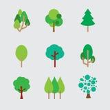 Satz verschiedene Bäume Lizenzfreie Stockbilder