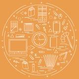 Satz verschiedene Bürogegenstände vereinbarte in einem Kreis einschließen Stockfoto