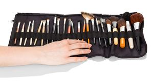Satz verschiedene Bürsten für Make-up im speziellen Fall, lokalisiert auf Weiß lizenzfreie stockfotografie