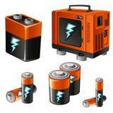 Satz verschiedene Batterien und Akkumulatoren Stockbilder