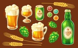 Satz verschiedene Behälter der Vektorkarikatur für das Abfüllen und die Speicherung des Bieres Stockbilder