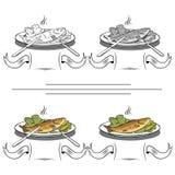 Satz verschiedene Bilder von Fischen Stockfoto