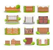 Satz verschiedene dekorative hölzernen, Metall- und Steinzäune lizenzfreie abbildung