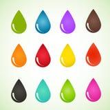 Satz verschiedene Farben der Tropfen Vektordesign eps10 Lizenzfreie Stockbilder