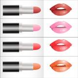 Satz verschiedene Farben des Lippenstifts Stockfotografie