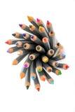 Satz verschiedene farbige Bleistifte auf weißem Hintergrund Lizenzfreie Stockfotos