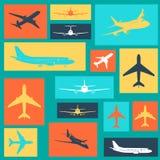 Satz verschiedene farbige Flugzeugzeichen Lizenzfreies Stockfoto