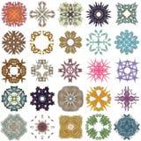 Satz verschiedene farbige Muster auf einem abstrakten Fractal Stockfoto