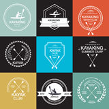 Satz verschiedene Firmenzeichenschablonen für das Kayak fahren Lizenzfreies Stockfoto