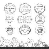Satz verschiedene Firmenzeichenschablonen für Fruchtsmoothie und -saft Stockbilder