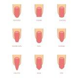 Satz verschiedene Formen von Nägeln auf Weiß Nagelformikonen Lizenzfreies Stockfoto