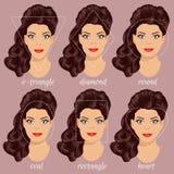 Satz verschiedene Frauengesichtsformen 2 Stockfoto