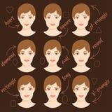 Satz verschiedene Frauengesichtsformen 6 Stockbilder
