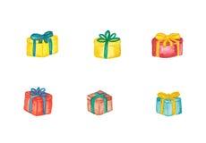 Satz verschiedene Geschenkboxen Stockbilder