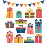 Satz verschiedene Geschenkboxen Bunte eingewickelte Geschenkboxen Birthd Lizenzfreies Stockfoto