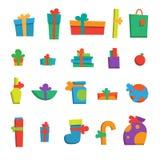 Satz verschiedene Geschenke für guten Rutsch ins Neue Jahr Lizenzfreie Abbildung