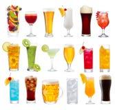 Satz verschiedene Getränke, Cocktails und Bier Lizenzfreie Stockfotos