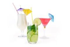 Satz verschiedene Getränke und Flaschen lokalisiert auf weißem Hintergrund Stockbilder
