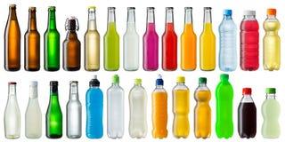 Satz verschiedene Getränkeflaschen Stockbild