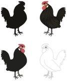 Satz verschiedene Hahnen, Schattenbild, Entwurf, gemalt vektor abbildung